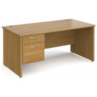 All Oak Panel End Clerical Desk 2 Drawers