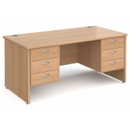 Next-Day Tully Panel End Rectangular Desk 3+3 Drawers