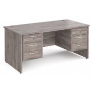 All Grey Oak Panel End Executive Desk 3+3 Drawers