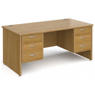 All Oak Panel End Executive Desk 3+3 Drawers