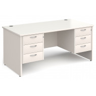 All White Panel End Executive Desk 3+3 Drawers