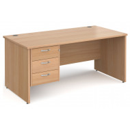 All Beech Panel End Clerical Desk 3 Drawers