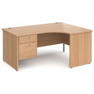 Tully Panel End Right Hand Ergonomic Desk 2 Drawers