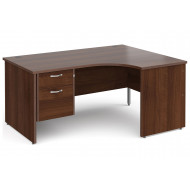 All Walnut Panel End Right Hand Ergo Desk 2 Drawers