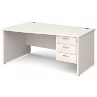 All White Panel End Left Hand Wave Desk 3 Drawers
