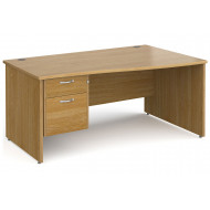 All Oak Panel End Right Hand Wave Desk 2 Drawers