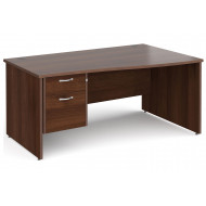 All Walnut Panel End Right Hand Wave Desk 2 Drawers