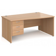 All Beech Panel End Right Hand Wave Desk 3 Drawers