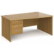 All Oak Panel End Right Hand Wave Desk 3 Drawers
