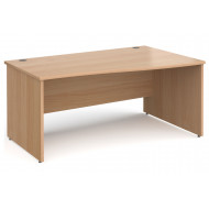 All Beech Panel End Right Hand Wave Desk