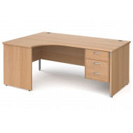 Tully Panel End Left Hand Ergonomic Desk 3 Drawers