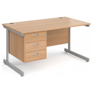 Tully I Rectangular Desk 3 Drawers