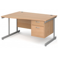 Next-Day Tully I Left Hand Wave Desk 2 Drawers