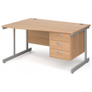 Next-Day Tully I Left Hand Wave Desk 3 Drawers