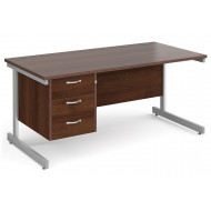 All Walnut C-Leg Clerical Desk 3 Drawer
