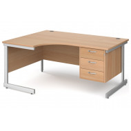 Tully I Left Hand Ergonomic Desk 3 Drawers