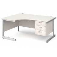 All White C-Leg Left Hand Ergo Desk 3 Drawers