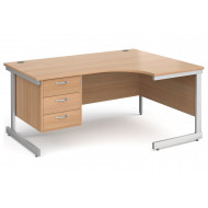 Tully I Right Hand Ergonomic Desk 3 Drawers
