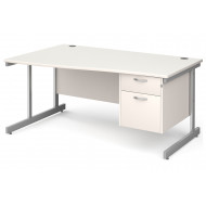 All White C-Leg Left Hand Wave Desk 2 Drawers