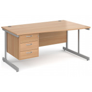 All Beech C-Leg Right Hand Wave Desk 3 Drawers