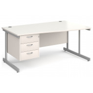 All White C-Leg Right Hand Wave Desk 3 Drawers