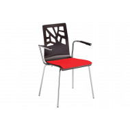 Pack of 4 Boe Bistro Armchairs With Upholstered Seat