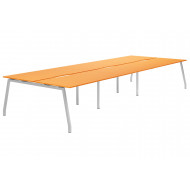 Next-Day Campos A-Frame 6 Person Back To Back Bench Desk (Orange)