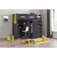 Charlie High Sleeper With Study Desk (Anthracite)