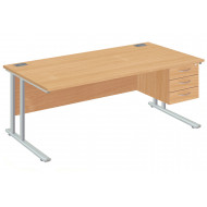 Next-Day Proteus II Clerical Desk With 3 Drawers