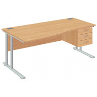 Next-Day Proteus II left hand wave desk with 3 drawers