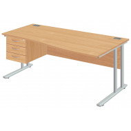Next-Day Proteus II Right Hand Wave Desk With 3 Drawers
