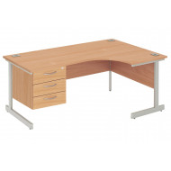 Next-Day Proteus I Right Hand Ergonomic Desk With 3 Drawers
