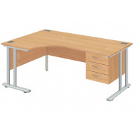 Next-Day Proteus II Left Hand Ergonomic Desk With 3 Drawers
