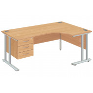 Next-Day Proteus II Right Hand Ergonomic Desk With 3 Drawers