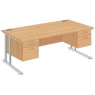 Next-Day Proteus Ii Executive Desk 2+2 Drawers