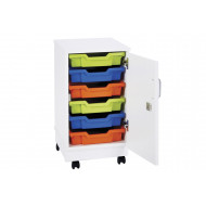 Pearl 6 Shallow Tray Mobile Storage Unit With Doors