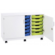 Pearl 18 Shallow Tray Mobile Storage Unit With Doors