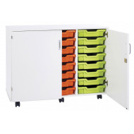 Pearl 24 Shallow Tray Mobile Storage Unit With Doors