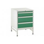 Euroslide 600 Under Bench 3 Drawer Cabinet With Stand 825h