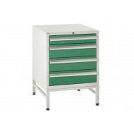 Euroslide 600 under bench 4 drawer cabinet with stand 825h