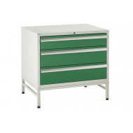 Euroslide 900 Under Bench 3 Drawer Cabinet With Stand 825h