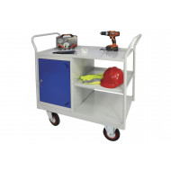 Mobile Maintenance Trolley With Cupboard And Side Shelf