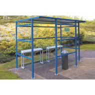 Traditional Smoking Shelter With Clear Perspex Back