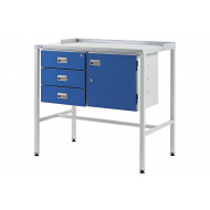 Team Leader Flat Top Workstation With Triple Drawers And Cupboard