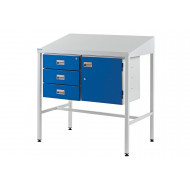 Team Leader Sloping Top Workstation With Triple Drawers And Cupboard