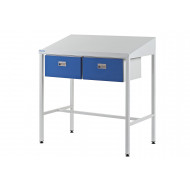 Team Leader Sloping Top Workstation With Two Single Drawers