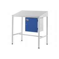 Team Leader sloping top workstation with cupboard