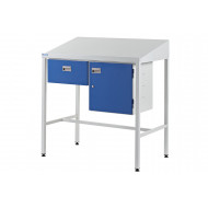 Team Leader Sloping Top Workstation With Single Drawer And Cupboard