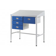 Team Leader Sloping Top Workstation With Triple Drawers And Single Drawer