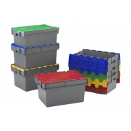 Grey Container Boxes With Colourful Lids